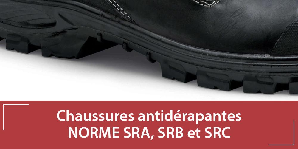 Chaussures de sécurité antidérapantes : normes SRA, SRB et SRC