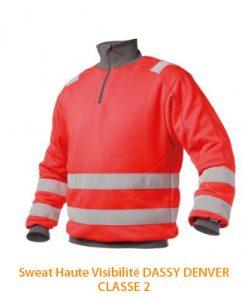 Sweat shirt haute visibilité classe 2 Denver Dassy
