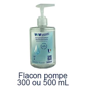Flacon pompe gel hydroalcoolique 300 ou 500 ml
