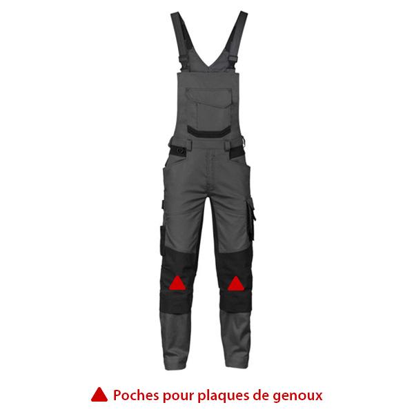 Cotte de travail avec poches genoux pour plaques de protection